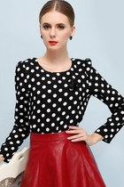 Black White Essential Dotted Chiffon Blouse