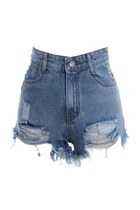 High Waist Destroy Effect Shorts