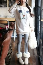 Loose Fit Cat Print Sweatshirt
