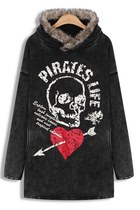 Black Skull Wash Fleece Hoodie
