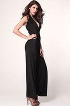 Black Plunging Neckline Jumpsuit with Wide Legs