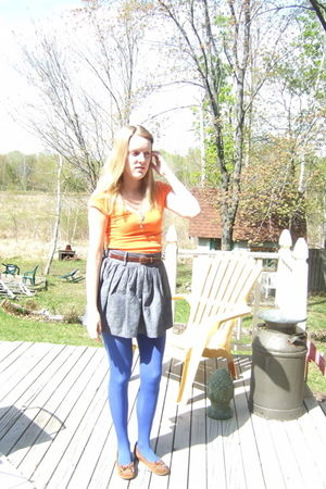 orange American Eagle t-shirt - blue Forever 21 skirt - brown vintage belt - blu