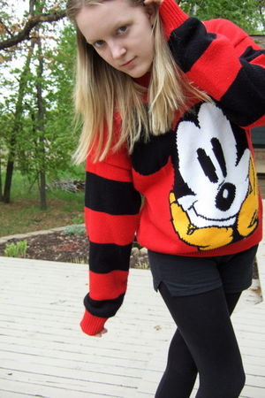 red Mickey Mouse sweater - black Soffe shorts - black American Eagle leggings -