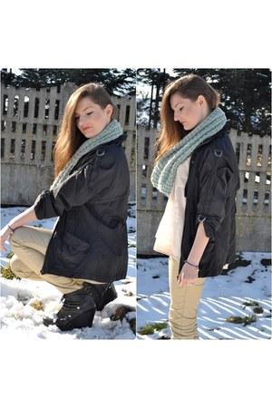 black Senze boots - black BSK jacket - white H&M blouse - yellow H&M pants