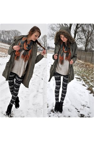 silver H&amp;M blouse - dark gray house boots - olive green NN jacket