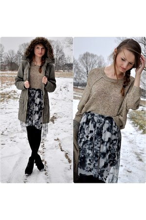 black house boots - dark green NN jacket - yellow NN sweater - silver RI skirt