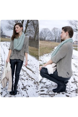 light blue NN scarf - dark gray Senze shoes - periwinkle River Island sweater