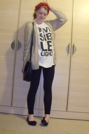white Scissor Sisters t-shirt - light brown handmade cardigan - black Primark ba