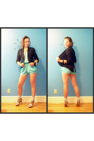 blue Zara suit - black Forever 21 jacket - silver Aldo shoes - pink Ski Socks so