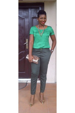 green satin Woolsworth blouse - pants pants
