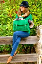 chartreuse PepaLoves bag - navy hollister jeans - navy Deny Rose hat