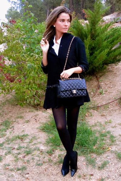 black Zara jacket - black Nine West shoes - black Chanel bag