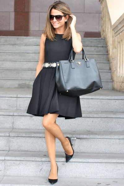 black Zara dress - black Prada bag - black Mango sunglasses - silver Zara belt