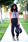 White-print-marshalls-top-black-harem-forever-21-pants