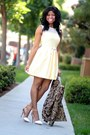 light yellow crochet Forever 21 dress - brown baroque H&M blazer