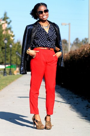 red Roxy pants - navy apart style blazer - black cynthia rowley sunglasses