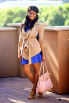 camel Nasty Gal coat - blue American Eagle dress - light pink Aldo bag