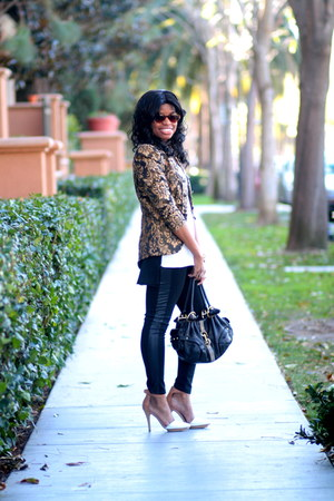baroque H&M blazer - panel Forever 21 leggings - cat eye Shop Lately sunglasses