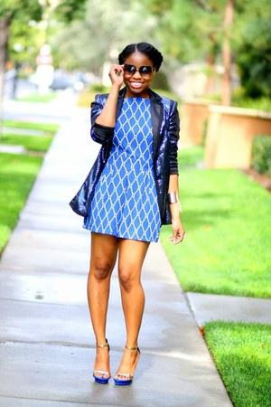 blue Boohoo romper - navy apart style blazer - black cynthia rowley sunglasses