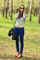 white Zara blouse - navy Zara jeans