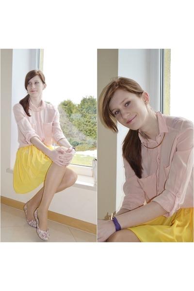 powder pink Bershka shirt - yellow wholesale skirt