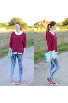 burgundy Stradivarius blouse