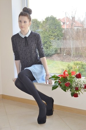 blue collar simple blouse - light blue DIY skirt - black CzasNaButy heels