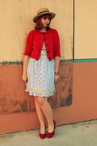 red Plasticland shoes - red  cardigan - light blue modcloth dress - light brown