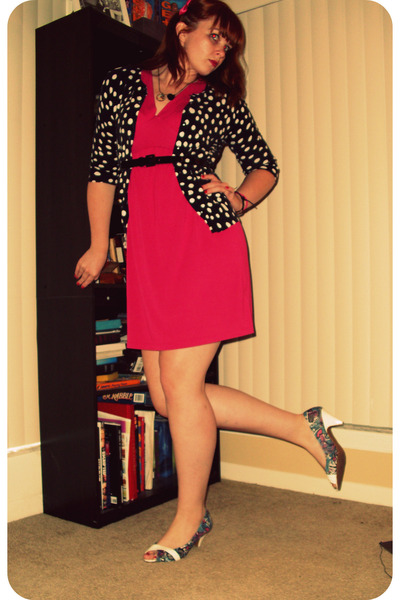 pink Old Navy dress - black Target cardigan - black Target belt