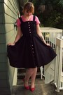 Hot-pink-not-rated-shoes-black-modcloth-dress-bubble-gum-old-navy-shirt