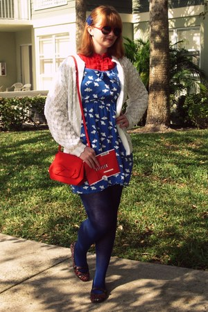 black Wal Mart shoes - blue modcloth dress - ivory thrifted sweater - red vintag