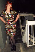 black kohls boots - black Pin Up Girl Clothing dress - black Target tights