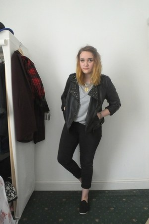 black Primark jacket - black next jeans - silver leather sleeves Primark t-shirt