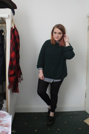 black new look shirt - forest green new look jumper