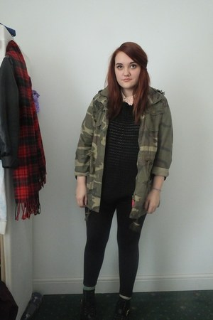 black Primark boots - army green Primark jacket - cream Primark shirt