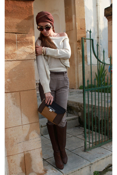 brown Stradivarius boots - burnt orange Charles & Keith bag
