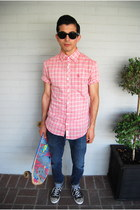 black Converse shoes - light pink plaid button-up Original Penguin shirt