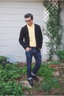 Black-steve-madden-shoes-navy-express-jeans-yellow-j-crew-shirt
