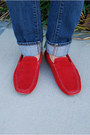 Red-suede-loafers-bacco-bucci-shoes-blue-denim-button-up-jcrew-shirt