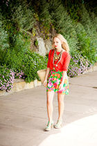 orange Gap top - green Oxfam skirt - green Kenzie shoes - old necklace