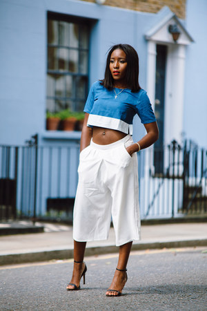 sky blue crop top asos top - cluottes asos shorts - heeled sandals Zara sandals
