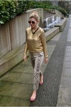 gold gold painted H&M sweater - gold aviators H&M sunglasses