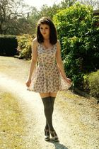 beige asos shoes - gray Primark socks - beige Topshop dress - beige vintage belt