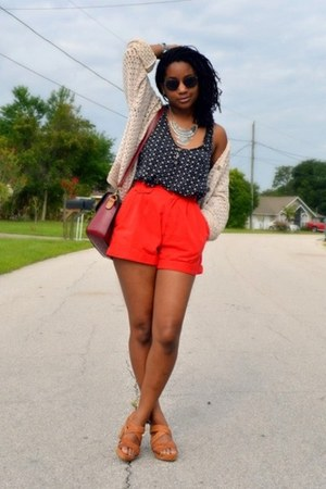 red Goodwill shorts - white Goodwill cardigan