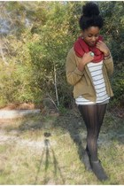 ruby red scarf - black boots - camel cardigan - white striped top