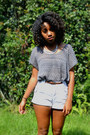 White-goodwill-shorts-brown-leopard-bealls-belt-charcoal-gray-thrifted-top
