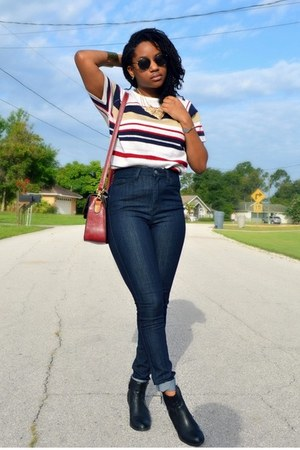 navy Forever 21 jeans - ruby red OASAP bag - ivory Goodwill top
