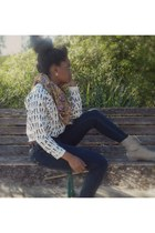 beige rue 21 boots - navy thrifted jeans - white forever 21 sweater
