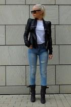 black Laurence Dacade boots - blue H&M jeans - black Rick Owens jacket