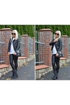 black Laurence Dacade boots - black Celine jacket - black Helmut Lang leggings